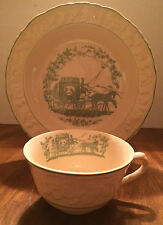 VTG RIMMED SOUP BOWL & COFFEE CUP ENGLISH BRAMBLEBERRY CARRIAGE  SCENE