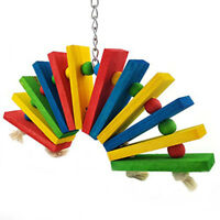 Color Wooden Bird Toys For African Greys Parrots Cage Chewing Toy