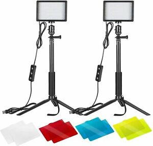 Neewer 2-Pack Dimmable 5600K USB LED Video Light with Adjustable Tripod Stand an
