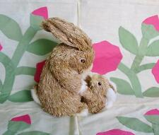 Momma and Baby Sisal Easter Bunny Rabbits Adorable
