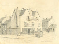 John Shelton- Set of 2 Mid 20th Century Graphite Drawings, English Street Scenes