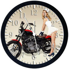 American Motorcycle Girl Black Frame Wall Clock Nice For Decor or Gifts Z32