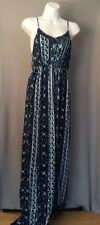 Mossimo Maxi Dress Empire Waist Crochet Trim Lace Up Back Size Medium Blue