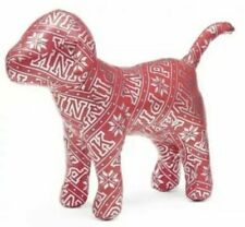 """Victoria's Secret PINK Dog 14"""" Stuffed Red And Silver Snowflake"""