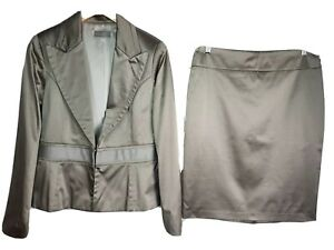 Jacqui E 10 12 Suit Blazer + Skirt 2 Piece Gold Pleated Lined Career Excellent