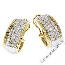 14k Dos Tonos Oro 2.70ctw Diamante Brillante Redondo Ancho Aro Puño Omega
