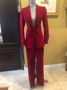 Chloe Spectacular Red Micro-Corduroy Cotton Pant Suit sz 36- NWOT