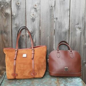 LOT 2 DOONEY & BOURKE DOMED WHISKEY BROWN EPI LEATHER SATCHEL & SOFT SUEDE TOTE