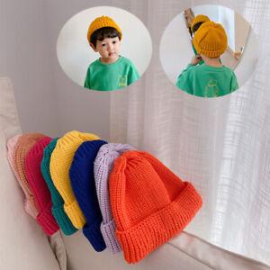 Winter Warm Crochet Knit Hat Beanie Cap Newborn Baby Candy-colored Woolen Hat