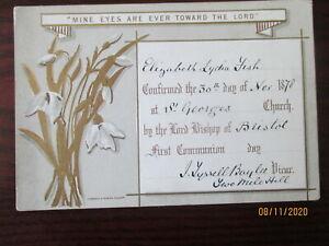 VICTORIAN CONFIRMATION CARD ST GEORGE'S BRISTOL 1878 ELIZABETH LYDIA FISH