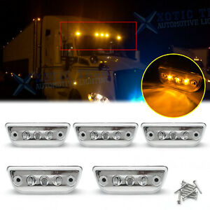 For Kenworth T680 T700 T880 Clear Amber LED Roof Clearance Marker Light Assembly