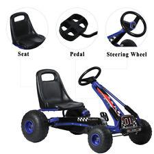Kid Outdoor Pedal Powered Go Kart Ride On Car Toy Steel Frame Eva Tire Blue 66lb