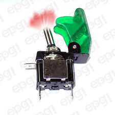 ON/OFF SPST 3P RED ILLUMINATED TOGGLE SWITCH w/TRANS GREEN COVER #662050/665020