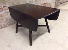 Retro Ercol Dark Elm Dining Table, Drop Leaf Plank, Kitchen, Vintage Mid Century