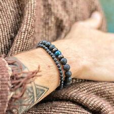 Men's Prayer Mala Beads Lava Rock Stone Chrysocolla Beaded Yoga Bracelet Gift
