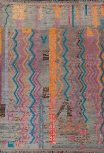 Geometric Moroccan Berber Oriental Area Rug Hand-knotted Plush Wool Carpet 8x11