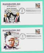 TRUMP-PENCE 2017 INAUGURATION COVER SET OF 2 W/FLAG STAMP, PANDA COLOR CACHET