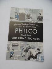 c.1950 PHILCO Single Room Window Air Conditioner Catalog Brochure Vintage Orig.
