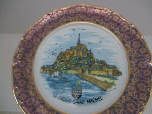 VINTAGE SOUVENIR PLATE OF LE MONT SAINT MICHEL, MP PORCELAINE FRANÇAISE