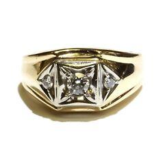 14k yellow gold .46ct diamond mens cluster band ring 11.6g estate vintage