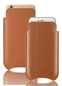 For iPhone 6/6s Case TAN Real Leather NueVue SANITIZING Screen Cleaning Sleeve
