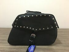 MOTORBIKE SADDLE BAGS 100% LEATHER, BLACK WITH STUDS  BRAND NEW, PL2664