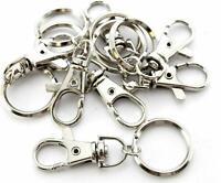 12 Silver Tone Lobster Trigger Swivel Clasps Split  Keyring Hook Fob Ring