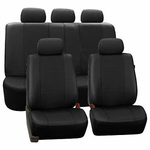 Black Deluxe Perforated Leatherette Car Seat Covers Full 2 Row Split Bench