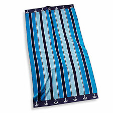 Ocean Stripe 100% Cotton Velour Extra Large  Beach & Pool Towel 100 x180cm