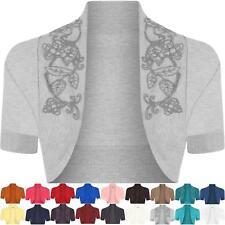 Ladies Plus Size Cotton Beaded Shrug Womens Short Sleeve Bolero Cardigan Top