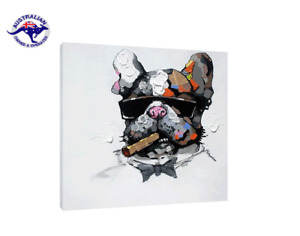 THE MAFIA DOG FUNKY MODERN ART HANDMADE ON CANVAS - 2 SIZES - 3 Framing options
