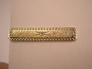 -White Rhinestone & Gold Tone Vintage SMALL Tie Bar Clip
