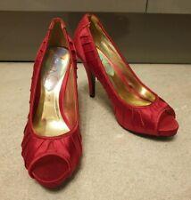 "Miss N Next Cerise Satin Red Peep Toe 4.5"" Heel Shoes (SIZE UK 5/EUR 38)"