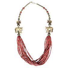 Gold Coral Bohemian Necklace Boho Art Deco Tribal Ethinic Chunky Jewellery