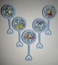 12pcs Baby Shower Rattle Favors blue for boy. Keepsake, cake topper decoration