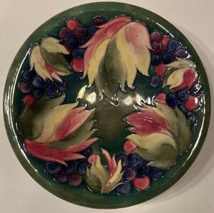 Moorcroft Grape & Leaf Bowl 25cm Signed Made in England With Damage AF
