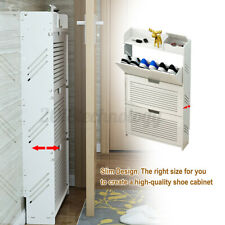 2 Layers PVC Shoes Storage Rack Organizer Cabinet Assembled Standing White