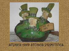 Pattern~Primitive St.Patrick'S Day Leprechaun Bowl Filler Orniess