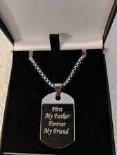 BEST DAD PERSONALISED STAINLESS STEEL DOG TAG NECKLACE FREE ENGRAVING XMAS GIFT
