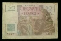 France, 1950 50 Francs Currency, French Bank Note Neptune Sigs. Cormier, Gargam
