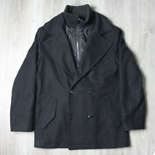 Mens Vintage Burton London Lined Peacoat Jacket Coat M Black Wool