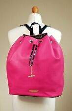 Juicy Couture Pink Black Patent Back Pack Ruck Sack Hand Bag Charm Medium Large