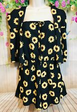 Zaful Blue Sunflower Romper With Arm Sleeves Size 8