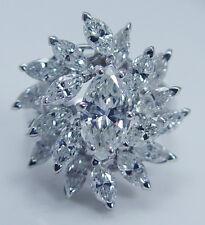 Vintage Platinum 4.24cttw Marquise cut Diamond Cocktail Ring with Diamonds