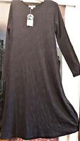 AMELIA ROSE NZ, Sz 12, Black Long Sleeve Maxi Dress | Stretch Nylon/Merino Wool