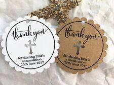 10 White Gift Swing Tags Religious Cross Christening Bomboniere Personalised V2