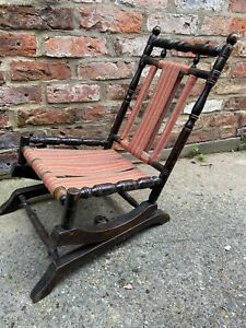 Vintage American Spring Rocking Chair carved wood unusual children's size