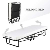 Twin Size Rollaway Folding Metal Bed Frame Guest Bed with 4'' Memory Mattress