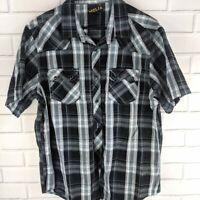 Helix Button-Front Shirt Men's XL Black Gray Cotton Western Hip Contrast Stitch