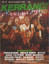 KERRANG! #12 MAR 1982: SCORPIONS Uriah Heep FOREIGNER Rose Tattoo ANVIL